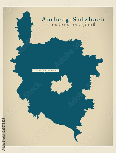 Photo Modern Map - Amberg-Sulzbach county of Bavaria DE