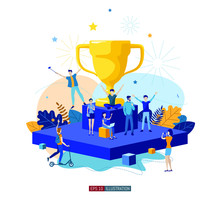 Trendy Flat Illustration. Best Team Ever Concept. Goal Achievement. Golden Cup. Successful Teamwork. Template For Your Design Works. Vector Graphics.