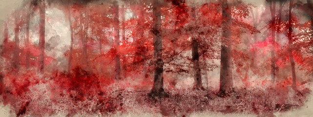 Watercolor painting of Beautiful surreal alternate color fantasy Autumn Fall forest landscape conceptual image