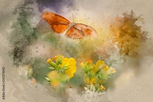 Fototapeta  Watercolor painting of orange butterfly hovering above yellow flowers in Summer