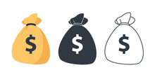 Set Of Money Bag Icons. Line M...