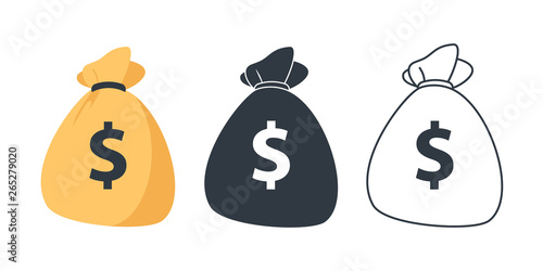 Fototapeta Set of Money bag icons. Line money bag icon , black and white sack, Flat Money bag Vector illustration obraz