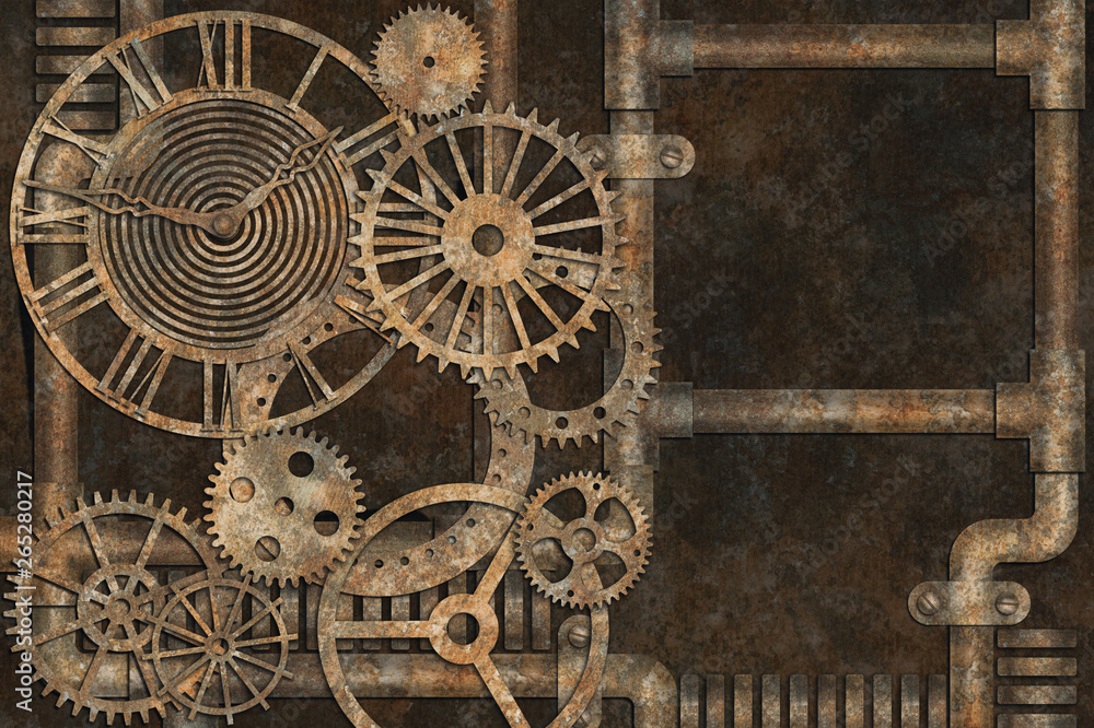 Steampunk grunge background, elements on rusty background