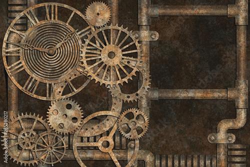Steampunk grunge background, elements on rusty background Wallpaper Mural