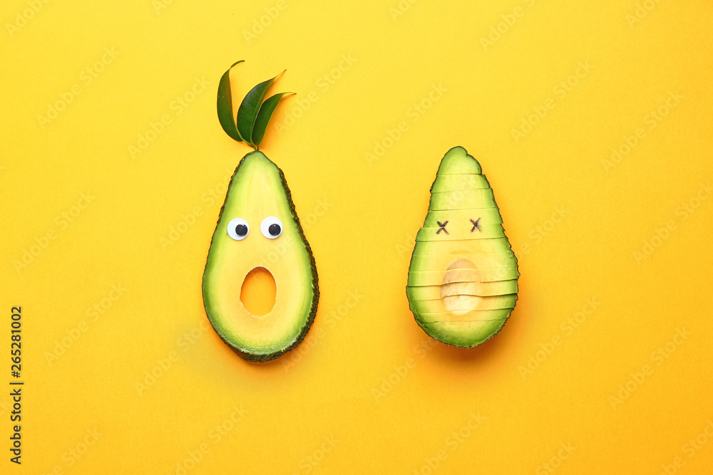 Fototapeta Creative composition with avocado on color background