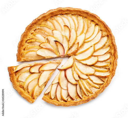 Papel de parede Tasty apple pie on white background