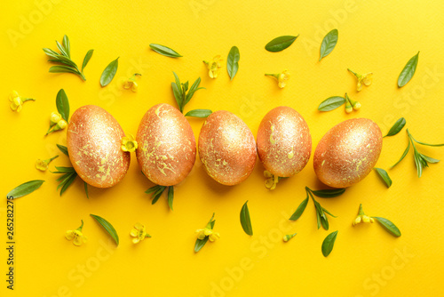 Aluminium Prints Equestrian Beautiful Easter eggs on color background
