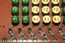 Keys Of Adding Machine. Old Vintage Adding Machine.