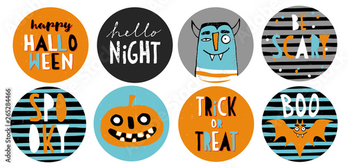 Valokuva  Set of 8 Halloween Party Round Shape Vector Toppers