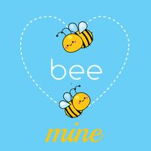 Cartoon Kawaii Bees. Cute Funn...