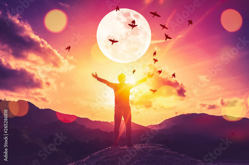 Fotografía  Copy space man raise hand up on top of mountain and birds fly with full moon abstract background