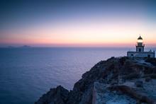 Sunset And Lighthouse, Santorini, Greece