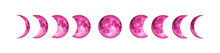 Cycle Moon Pink Phases,Isolated With Clipping Path On White Background, Elements Of This Image Furnished By NASA
