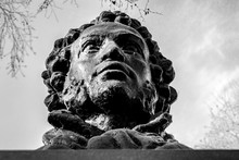 UFA, RUSSIA - 11 APRIL 2019: Close-up Bust Of The Alexandr Sergeevich Pushkin Against The Sky, Greatest Russian Poet