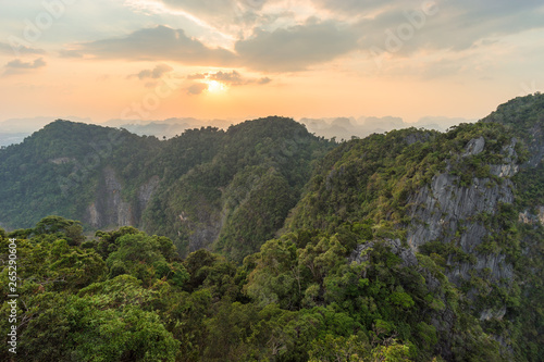 Jungle and mountains covered with tropical greenery and trees in Asian nature at sunset © evgenydrablenkov