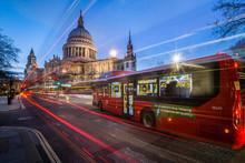 St. Pauls Cathedral At Night, City Of London, London