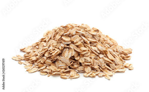 pile of oatmeal isolated on white background Canvas Print