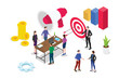 isometric 3d business strategy concept with team people working together debate and discuss with graph report - vector