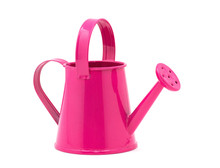 Pink Watering Can On A White Background.