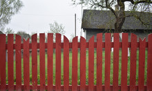 Wooden Fence In The Village.