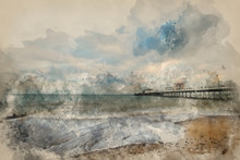 Watercolor Painting Of Beautiful Long Exposure Sunset Landscape Image Of Pier At Sea In Worthing England