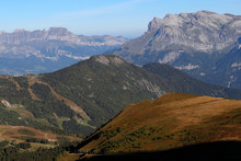 Landscape Of The French Alps In Summer, Aravis And Fiz Mountains, Haute-Savoie, France