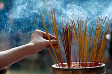 Emperor Jade Pagoda (Chua Phuoc Hai), Incense Sticks On Joss Stick Pot Burning, Smoke Used To Pay Respect To The Buddha, Ho Chi Minh City, Vietnam