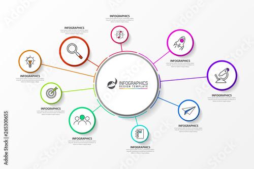 Fotografia  Infographic design template. Creative concept with 9 steps
