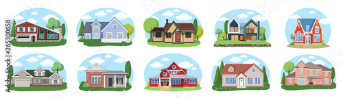 Big houses set, Vector Buildings Set. Flat Design Houses set Isolated on White Background.