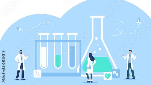 Fotografía  Research laboratory vector illustration concept, scientis working at laboratorium