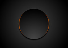Black Circle With Orange Glowing Light Abstract Background
