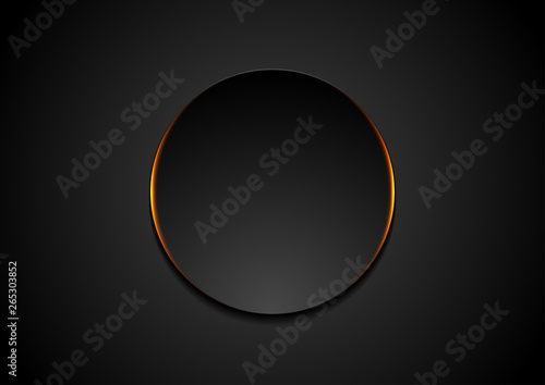 Obraz Black circle with orange glowing light abstract background - fototapety do salonu