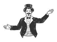 Circus Theatrical Master Of Ceremonies Entertainer Sketch Engraving Vector Illustration. Scratch Board Style Imitation. Black And White Hand Drawn Image.