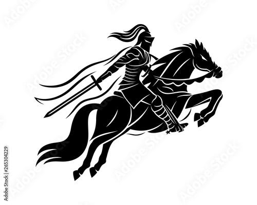 Ancient warrior on horseback on a white background. Fototapet