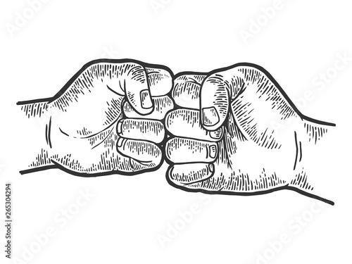 Fotografie, Obraz  Fist greeting sketch engraving vector illustration