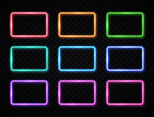 Colorful Neon Square Signs Set. Glowing Color Rectangles Collection On Transparent Background. Shining Led Or Halogen Lamps Frame Banners. Bright Futuristic Vector Illustration For Decoration Covering