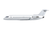 Flying Airplane, Regional Jet Aircraft, Airliner. Side View Of Detailed Passenger Air Plane Isolated On White Background. Vector Illustration
