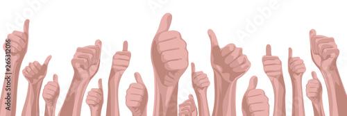 Photo  Viele Hände strecken Daumen nach oben, banner