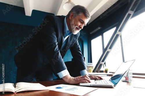 Foto Elegant businessman analyzing data in office