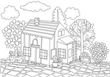Fashion House With Blossom Garden For Your Coloring Book