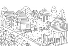 Fancy Cute Cityscape For Your Coloring Book