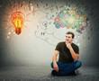 guy on the floor idea concept, positive thinking
