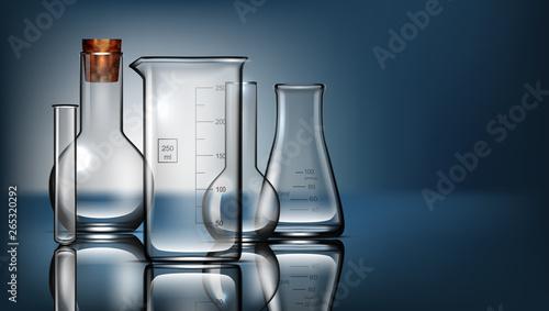 Realistic Glass Laboratory Equipment Set. Flasks, Beakers Wallpaper Mural