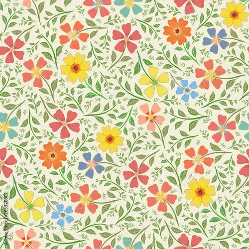 czerwony-zolty-niebieski-i-pomaranczowy-recznie-rysowane-kwiaty-w-gestym-stylu-vintage-design-wektor-bez-szwu-desen-na-tle-smietany-idealne-do-pakowania-produktow-wellness-tkanin-artykulow-papierniczych-opakowan-na-prezenty