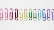 Rainbow Made Of Colorful Paper Clips