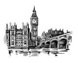 Fototapeta Big Ben - London Landmark Big Ben Tower sketch