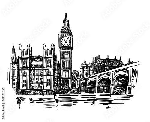 Photo London Landmark Big Ben Tower sketch