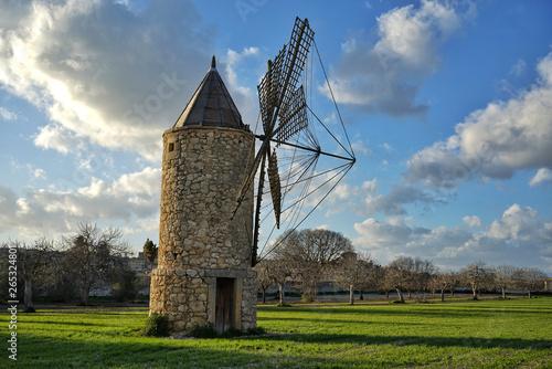 historic windmill in mallorca near of porreres
