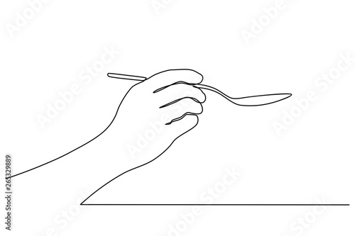 Stampa su Tela continuous line drawing of Hands holding a spoon