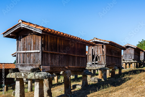 Horreos (granaries) of A Merca, the highest concentration of horreos in Galicia, Spain